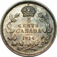 1914 CANADA SILVER 5 CENTS KM22 - CHOICE AU/UNC -COLOR! -d174utxs2