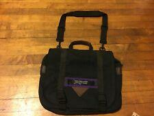 Vintage Jansport USA Messenger Bag Laptop Crossbody Black Canvas Leather