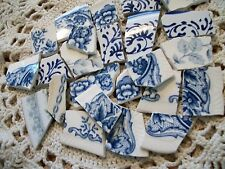 Blue & White Mix of Floral & Abstract From Oxford + Broken China Mosaic Tiles