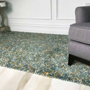 Mottled Speckled Tonal Two Tone Duck Egg Blue Mustard Quality Soft Shaggy Rugs