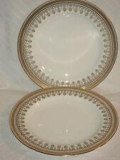 "Royal Cauldon England Greek Key Gold 2 (8"") Lunch Plates Two"