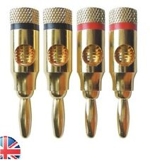 4pcs Gold Plated 4mm Banana Plugs Speaker Audio Connector Wire Cable | UK Seller