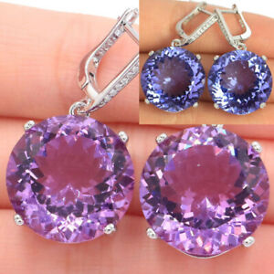 35x20mm Big Oval Gemstone Color Changing Alexandrite & Topaz 925 Silver Earrings