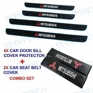 Blue B Car Door Scuff Sill Cover Panel Step Protector COMBO For Mitsubishi 4PCS