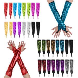 Women Ladies Shiny Fingerless Elbow Gloves Arm Sleeve Costume Dancewear Mittens