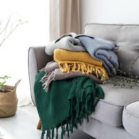 100% Cotton Luxury Tassels Blanket Knitted Throw Sofa Bed Crochet Rug Home Decor