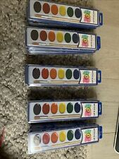15 Set Watercolor Paint Pack with Quality Wood Brushes 8 Colors Washable Water