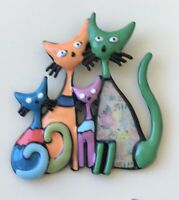 Adorable  artistic  four Cats Brooch pin enamel on Metal