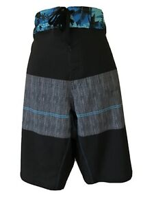 Burnside Board Shorts Swim Trunks Lightweight Back Pocket Men's 38 Black Blue