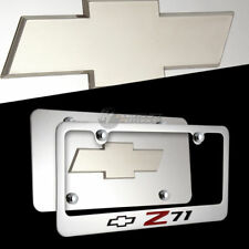 3D Chevrolet Z71 Stainless Steel License Plate Frame with 4 Caps - Front & Back