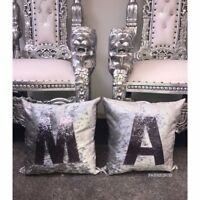 Crushed Velvet Initial Personalised Cushion Silver And Gunmetal Glitter