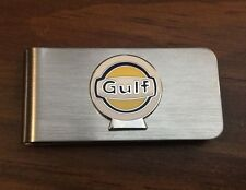 Gulf Gas Station Oil Automobiles Silver Vintage Money Clip Holder rat hot rod