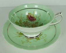 Cabbage Rose Green Paragon Fine Bone China Teacup & Saucer Queen Mary England