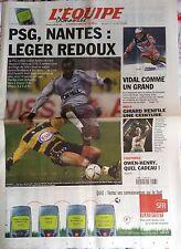 L'Equipe Journal 23/12/2001; Psg-Sochaux 2-0/ Vidal/ Girard champion WBA