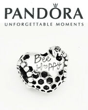 Pandora Silver 925 ALE Bee Happy Honeycomb Heart Charm Bead 798769C00