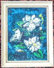 Floral Oil Painting Southern Magnolia Flowers Blue White Green Yellow Framed