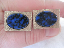 Rectangular Gold-Tone Cufflinks with Oval Simulated Lapis Stones, Signed Destino