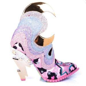 Irregular Choice Galactic Thunder Glitter Lightning Bolt Heel Ankle Boots Shoes