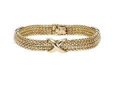 """Multi-Strand with Box Clasp, 7.25"""" Bracelet In 14kt Gold Yellow+White Bead"""