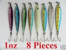 8 Pieces 1oz Mega Live bait Metal Jigs Fishing Lures - 8 Colors