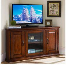 Leick Oak Leaded Glass Corner TV Stand 50 inch Corner