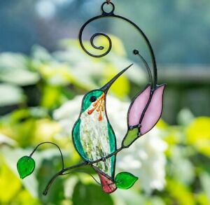 Stained glass suncatcher hummingbird with pink flower for window decoration