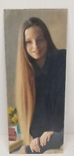 Antique Vintage Illustration Artist Oil On Board Painting Darrel Greene Woman