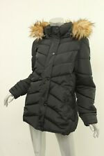 MADDEN GIRL Black Faux Fur-Trim Hooded Coat L $90