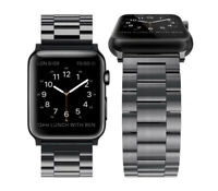 For iWatch Apple Watch Series 3 2 1 42mm Stainless Steel Wrist Band Strap Black