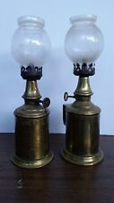 Set Of Two Antique French Pigeon Brass Portable Oil Petrol Lamp Lamps Lampe