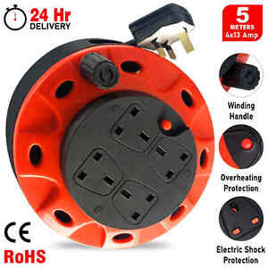 Heavy Duty Extension Cable Reel 5/20/25/50m 4 Gang Electric Socket Plug Lead UK