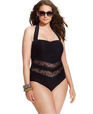 cfd236583268c Jessica Simpson 4671 Womens Black Crochet One-piece Swimsuit Plus 3x BHFO