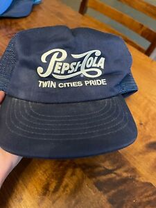 Vintage Pepsi Cola Twin Cities Pride Mesh Trucker Snapback Hat Cap Made In USA