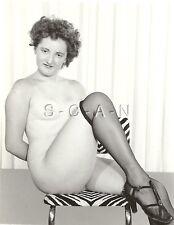 Original Vintage 1940s-60s Nude RP- Curly Hair- Stockings- Shows off Legs- Heels