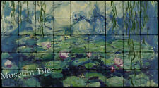 36x20 Monet Nypheas Water Lilies Fine Art Tumbled Marble Tiles