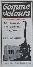PUBLICITE ORIGINALE GOMME VELOURS CHAT DE 1918 FRENCH AD PUB CAT