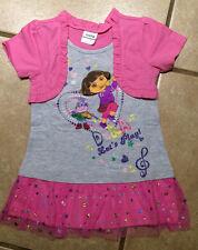 NWT Girls Dora the Explorer &  Boots  Let's Play Tulle Sparkle Dress  SZ 18M-6