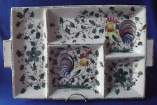 """VINTG HANDPAINTED ITALIAN ROOSTER 4 SECT.  SERVING TRAY PLATTER 18"""" x 11"""" ITALY"""