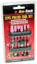 12pc polaco conjunto de herramientas de pulido Kit - 6 montado Piedras, 3 Acero & 3 Cepillos De Nylon