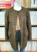 Vtg 90s 80s MAX MARA Jacket Blazer Check Wool Boxy Padded Shoulders UK 10 US 4