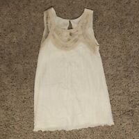 altar'd state Womens Medium Sleeveless Blouse White/Cream Lace