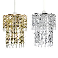 Modern Chrome Ceiling Pendant Light Lamp Shade Clear Acrylic Crystal Droplet