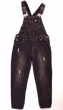 JORDACHE Girls 10/12 Black Distressed Bib Suspender Jean Overalls Silver Sequins