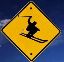 Skier Crossing Sign Ornament Handmade Wood Ski Lodge House Decor Boyfriend Gift
