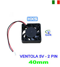 VENTOLA 40MM 2 PIN RAFFREDDAMENTO PC NOTEBOOK LAPTOP 5V 24dB 5000RPM 80mA 2CFM