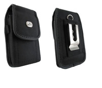 Black Canvas Belt Case Pouch Holster w Clip/Loop for Verizon Alcatel Go Flip V