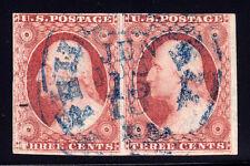 #11A - 3 Cent 1851-57, 81-82L2L pair, 1852 Brownish Carmine. underinked variety