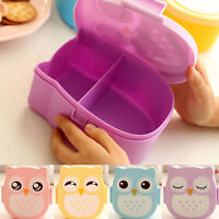 Owl Lunch Box Storage Portable Food Container Bento Box Spoon Organizer  cd