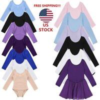 US Girl Kid Ballet Dance Leotard Dress Gymnastics Stretchy Dancewear Multi-Color