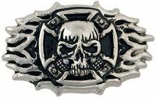 """Skull Cross Frame Cycle Concho 2"""" (5.1cm)x 1-1/2"""" (38mm) Tandy Leather 71502-01"""